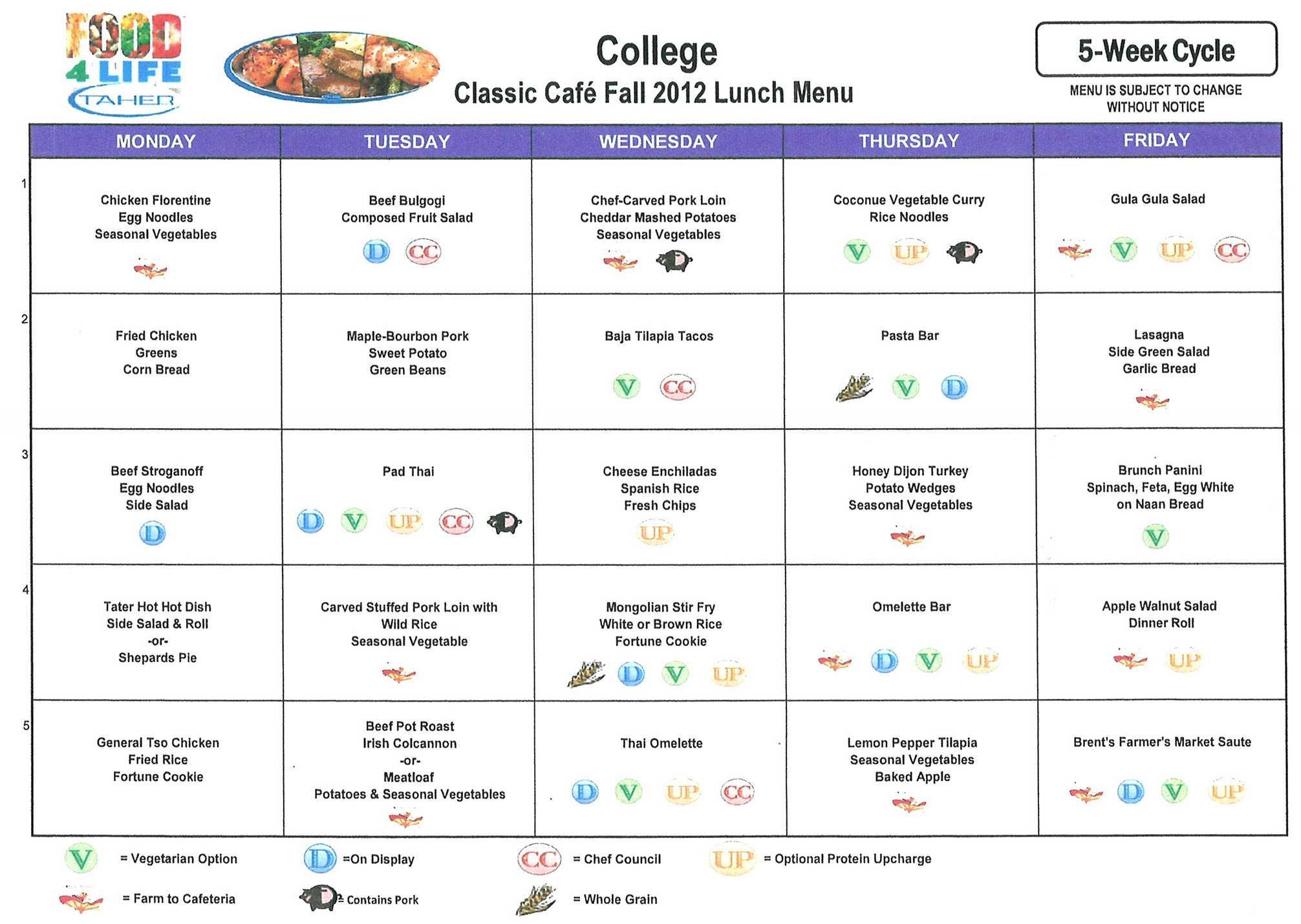 College Food Service Menus