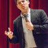 Max Brooks, zombie lore expert and best selling author, speaks at Fresno City College Tuesday, April 14, 2015. Brooks explains his own experiences with writing books about a zombie apocalypse.
