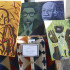 Paintings are on display at the first Jazz and Soul Music Festival in downtown Fresno on April 18, 2015.