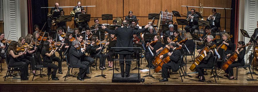 The Fresno City College Community Symphony Orchestra performs under the direction of conducter Jeffrey Sandersier on Feb. 28, 2017. Photo/Cheyenne Tex