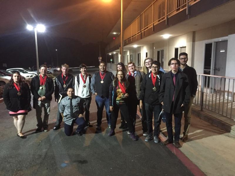 The FCC debate team celebrates multiple wins after a long day of competition at Long Beach State University on Feb. 25, 2017.
