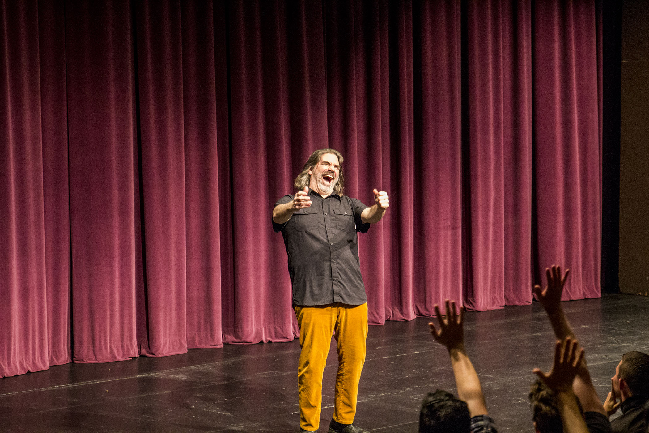 Peter Cook greeting the audience in the FCC Theater on March 30, 2017