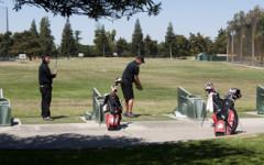 The Spring 2013 Fresno City College Golf Team warms-up before April 17, 2013 golf tournament. (Photo/Karen West)