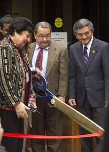 FCC President Tony Cantu is joined by other administrators during the ribbon cutting ceremony for the opening of the Veteran Resource Center on  Jan. 28, 2015. Photo/Ramuel Reyes