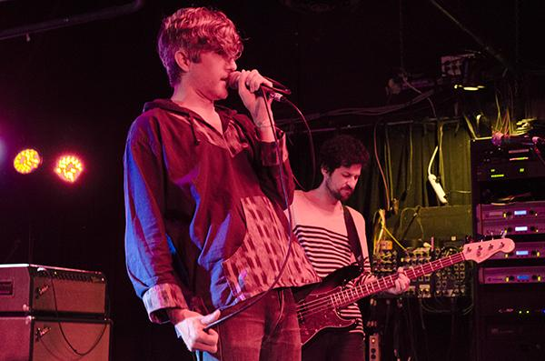We are Scientists' Keith Murray (front) sings to the crowd while Chris Cain (back)  plays on bass at Strummer's, April 27, 2015.