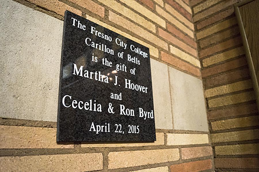 The plaque in the library commemorates the new Fresno City College Carillon of Bells, April 22, 2015.