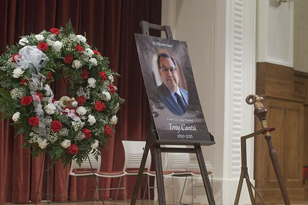 A memorial for Tony Cantu, president of Fresno City College, sits on stage at the auditorium. On April 6, 2015, family member notified the State Center Community College District that Cantu had died.