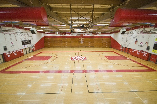 The Fresno City College basketball courts sit empty.