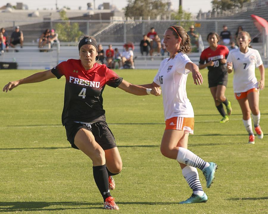 Mel Harris defends against Cosumnes River, at the Fresno City College soccer field on Friday, Sept. 4, 2015.