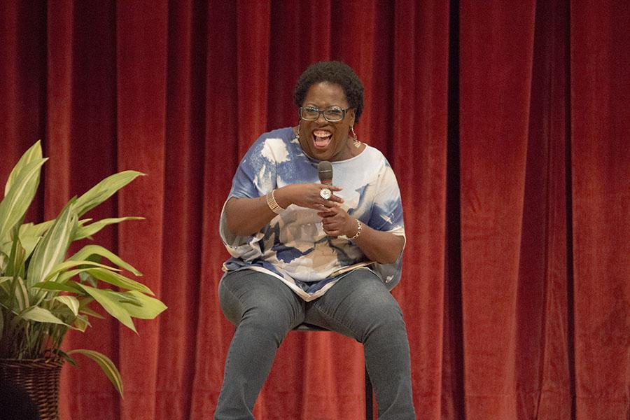 """Sheryl Underwood, co-host of """"The Talk"""" on CBS, engages the audience at the FCC auditorium on Monday evening."""