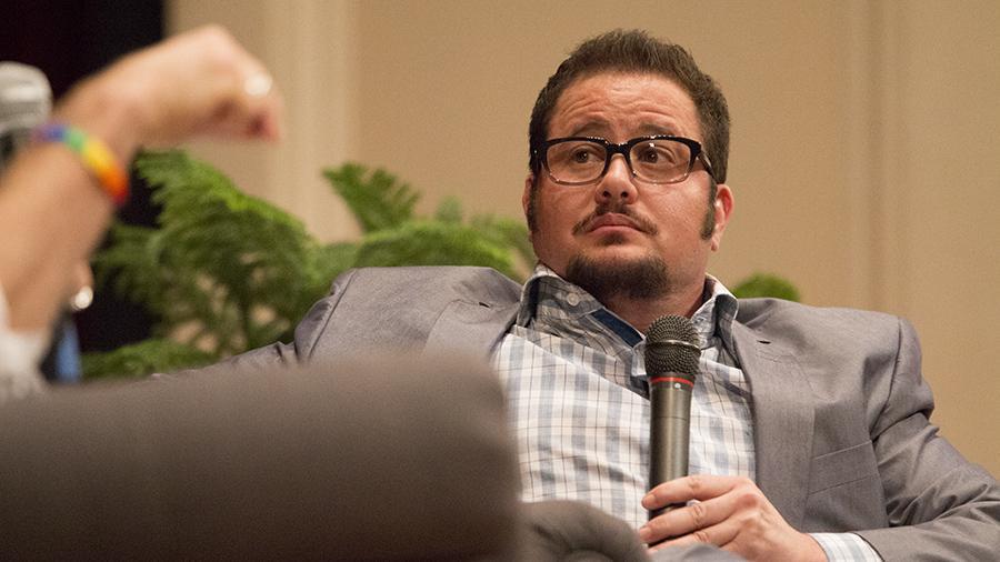 Chaz Bono at the Fresno City College auditorium.