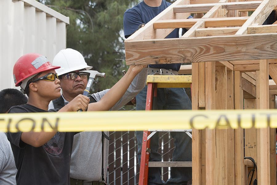 The Fresno City College construction program is hard at work on a small house project. Oct.14, 2015.