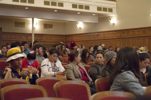 Students listen as Jaclyn Friendman, author, speaks at the Fresno City College Auditorium about sexual consent on Nov. 3.
