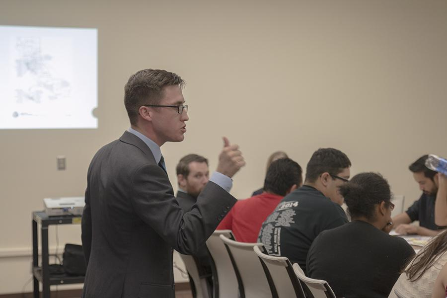 Associated Student Government Student Trustee, Cody Sedano speaks to the ASG at their meeting on Oct. 27, 2015.