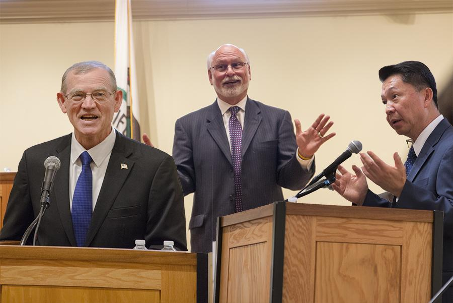 From left to right: Dave Paul Parnell, Ronald Taylor and Henry Chiong Vui Yong speak in the Fresno City College Old Administration Building. The three candidates for chancellor of the State Center Community College District laid out their vision and priorities in open forums hosted across the district on Nov. 12, 2015.