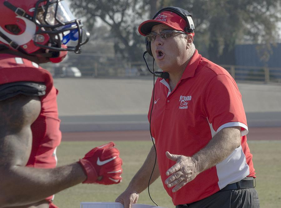 Head Coach Tony Caviglia argues a call against Sierra, at Ratcliffe Stadium, Saturday, Nov. 21, 2015.
