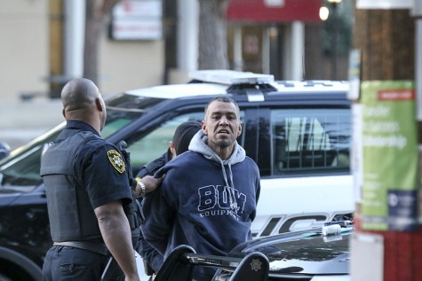 Fresno City College Police officers apprehend burglary suspect in front of Pacific Cafe on Friday Feb. 19, 2016. Larry Valenzuela/ Photo