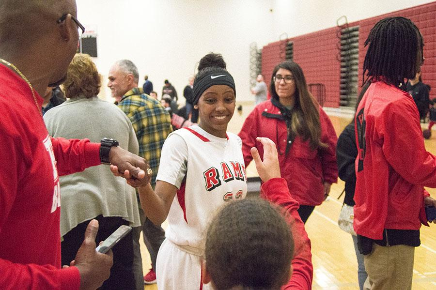 Toni Edwards celebrating her team's win against Sierra College, 71-62, on Saturday, March 5, 2016. Photo/ Ram Reyes