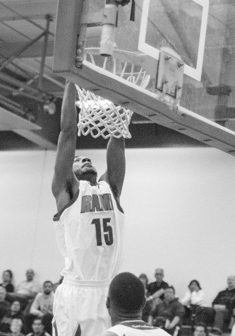 Danzell Walker dunking against Contra Costa College on Saturday, March 5, 2016. The Rams won against Contra Costa College, 100-89, and are moving forward to the state final four. Photo/ Ram Reyes