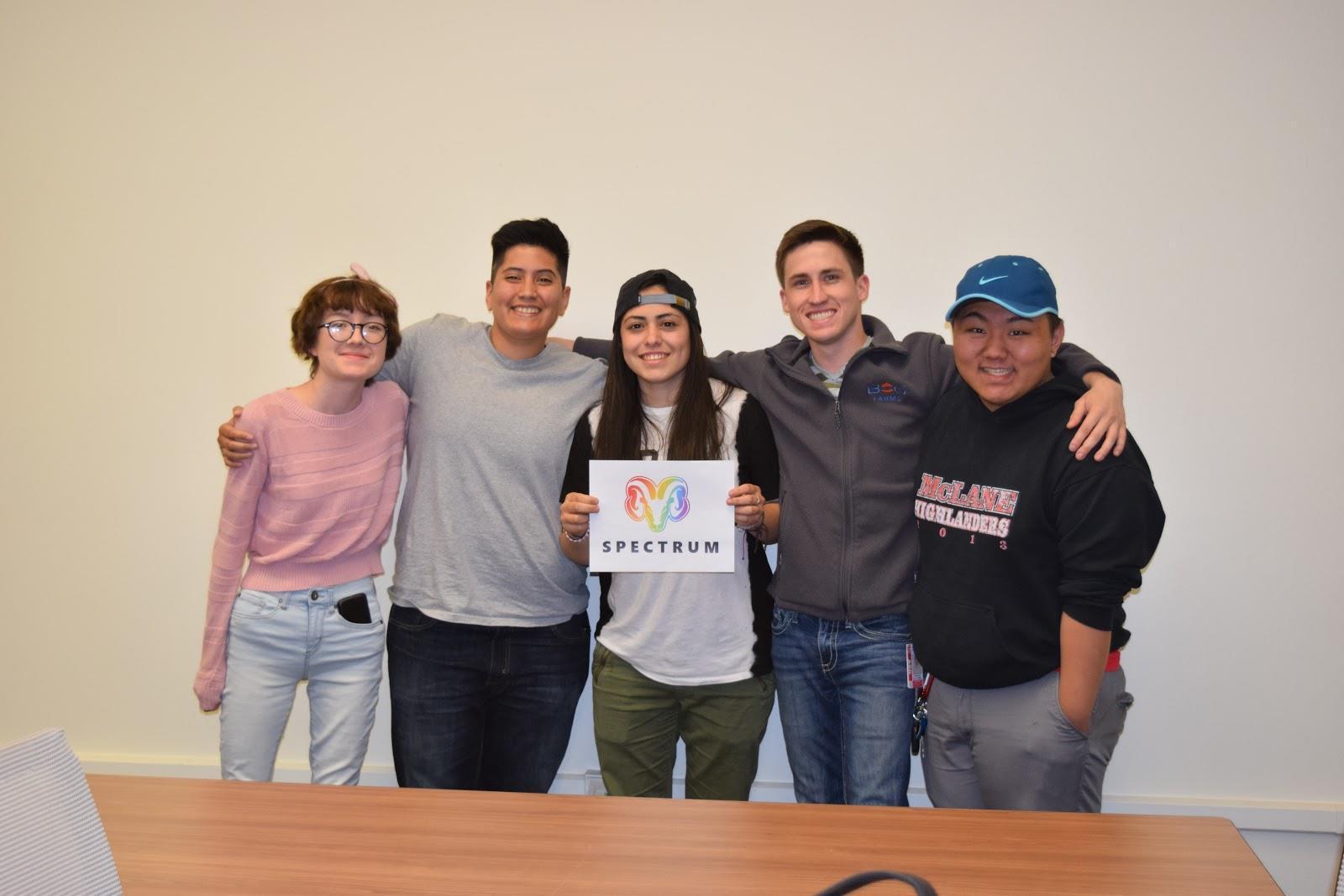 LGBTQ Spectrum Club members from left to right: Treasurer Adri Almaguer, Vice President Kristen Lopez, President Cody Sedano and Secretary Roger Her. March 14, 2016.