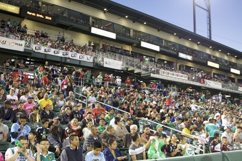 Fans ready to see Liga MX friendly match between Club Atlas and Leon FC at Chukchansi Park in downtown Fresno on Thursday, March 24, 2016.