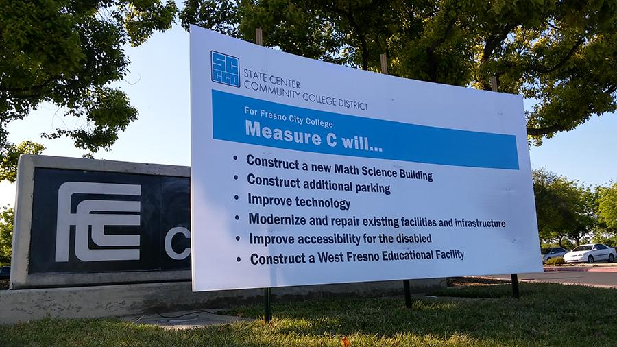 A Measure C billboard sits at the south entrance to Fresno City College on April 14, 2016.