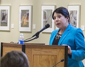 Fresno City College Interim President Cynthia Azari speaks at a candidate forum on Feb. 28, 2016.