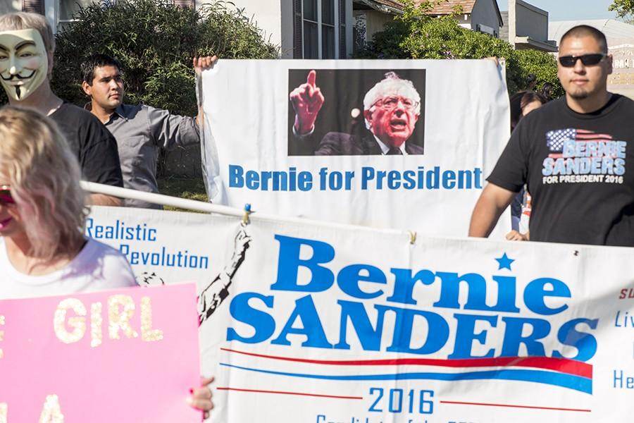 Supporters for the democratic presidential hopeful, Bernie Sanders, march through Tower District in Fresno on April 2, 2015.