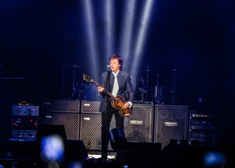 """Paul McCartney performing """"A Hard Day's Night"""" during his show at the Save Mart Center in Fresno, Calif. on April 13, 2016."""