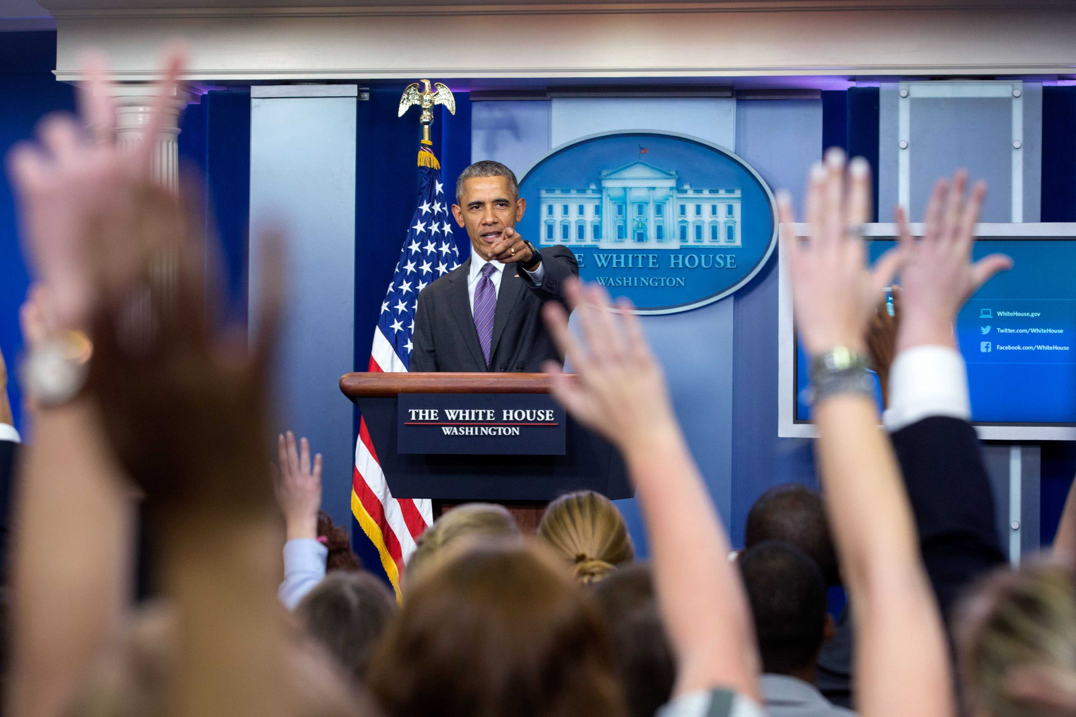President Barack Obama takes questions from student reporters during College Reporter Day in the James S. Brady Press Briefing Room of the White House, April 28, 2016. (Official White House Photo by Amanda Lucidon)    This official White House photograph is being made available only for publication by news organizations and/or for personal use printing by the subject(s) of the photograph. The photograph may not be manipulated in any way and may not be used in commercial or political materials, advertisements, emails, products, promotions that in any way suggests approval or endorsement of the President, the First Family, or the White House.