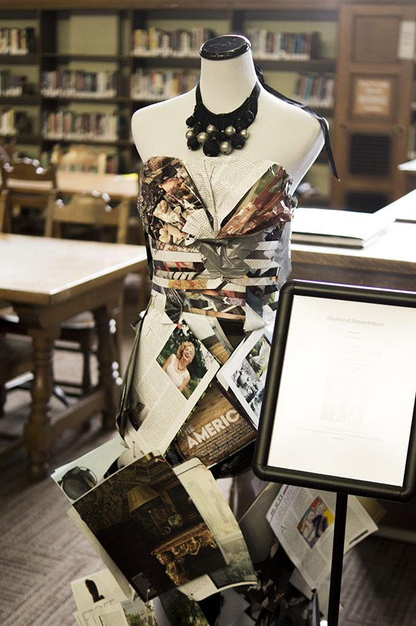 The Diamond Showstopper Fashion Exhibit displayed in the Fresno City College Library.