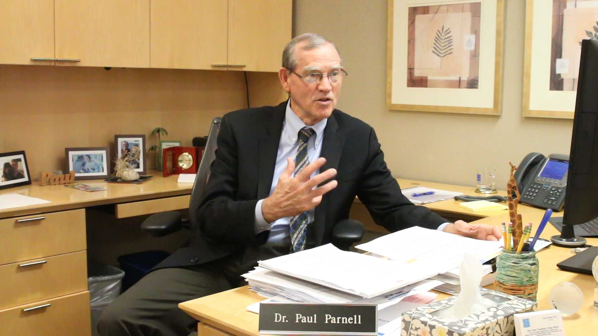 The State Center Community College District Chancellor, Dave Paul Parnell talks about his new position at the district on April 27, 2016.