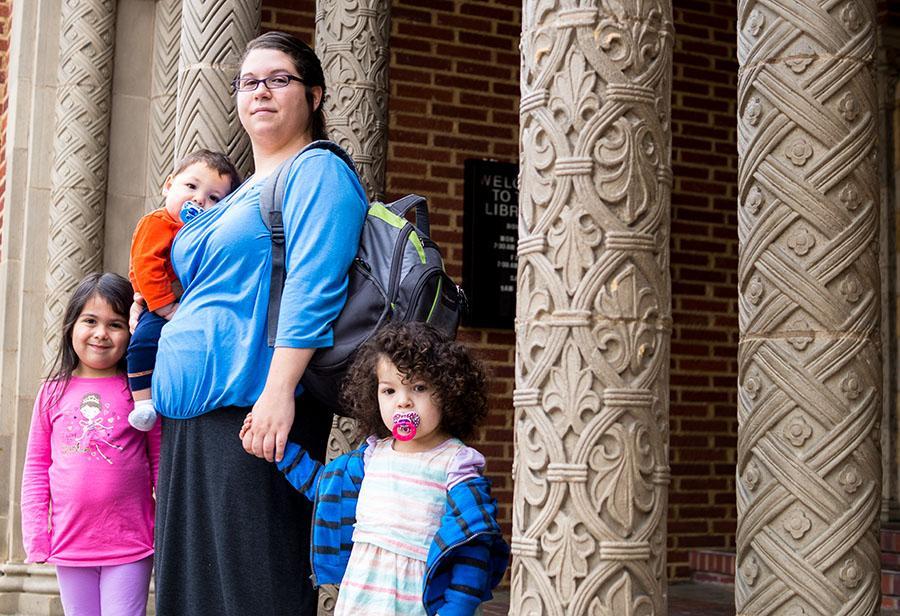 Patricia Granados stands with her three children, (from left to right) Azaria Granados, Hadassah Granados and Josiah Granados.