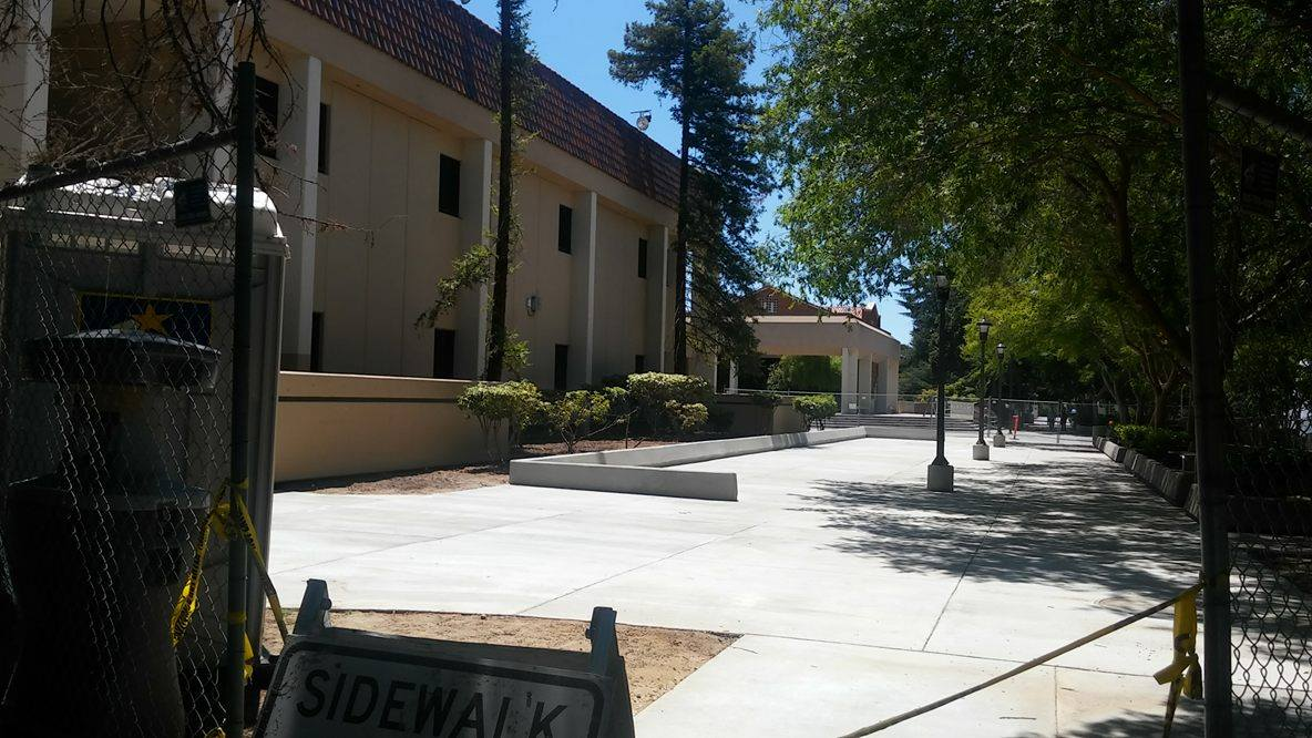 The north side of the Language Arts building is seeing remodeling of the walkway between it and the eastern quad area near the campus mall at Fresno City College.