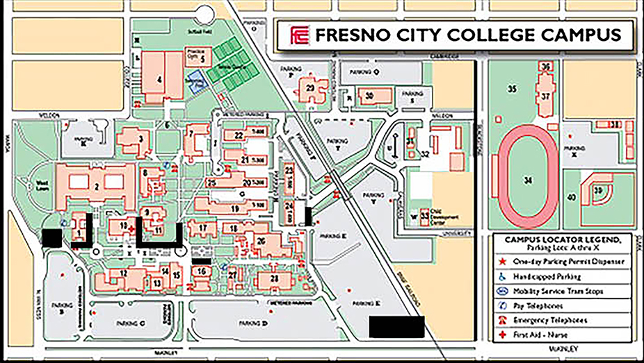 Areas in black show patches of the Fresno City College campus where construction is currently underway.