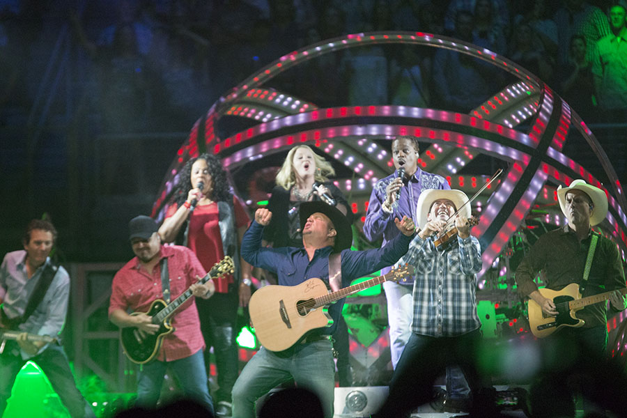 Country Singer Garth Brooks performing with his band at The Save Mart Center on Sept. 23, 2016. Larry Valenzuela