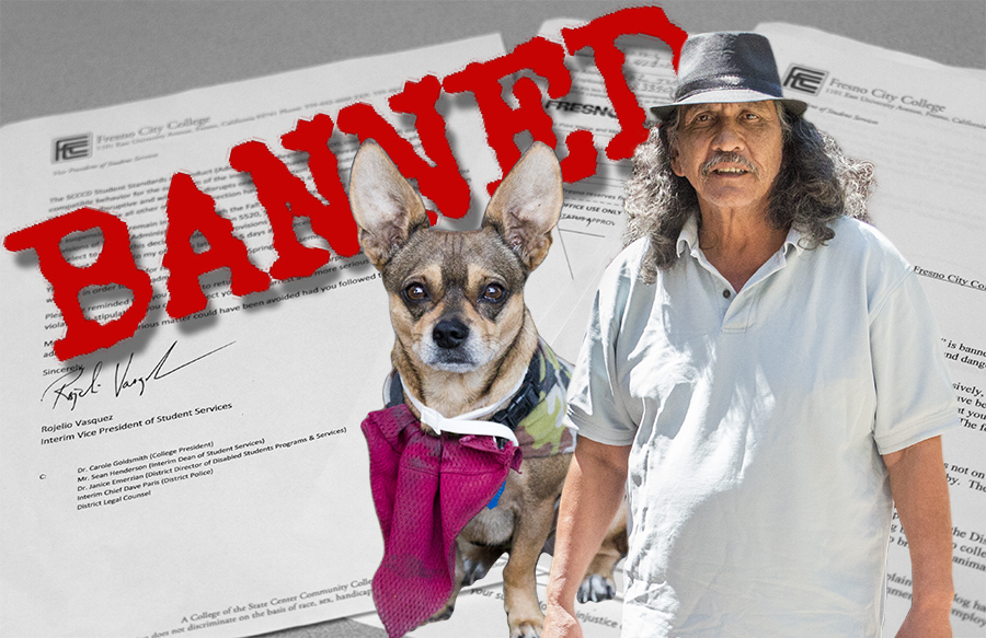Larry Rodriguez (Left) and his dog Zapata (right) have been banned from campus effective Sept. 8 following a letter from the college's interim vice president of student services. Rodriguez and his companion dog have been told they are not permitted on the FCC campus after alleged reports that Rodrigez's dog has barked and attacked students. Rodriguez maintains that his dog is not wild.