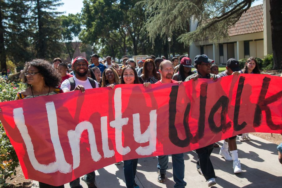 The+Fresno+City+College+Unity+Walk+took+place+on+Wednesday%2C+Sept.+28%2C+2016.+Students+walked+from+the+college+free+speech+area+to+the+Old+Administration+Building+where+they+pledged+for+unity.+