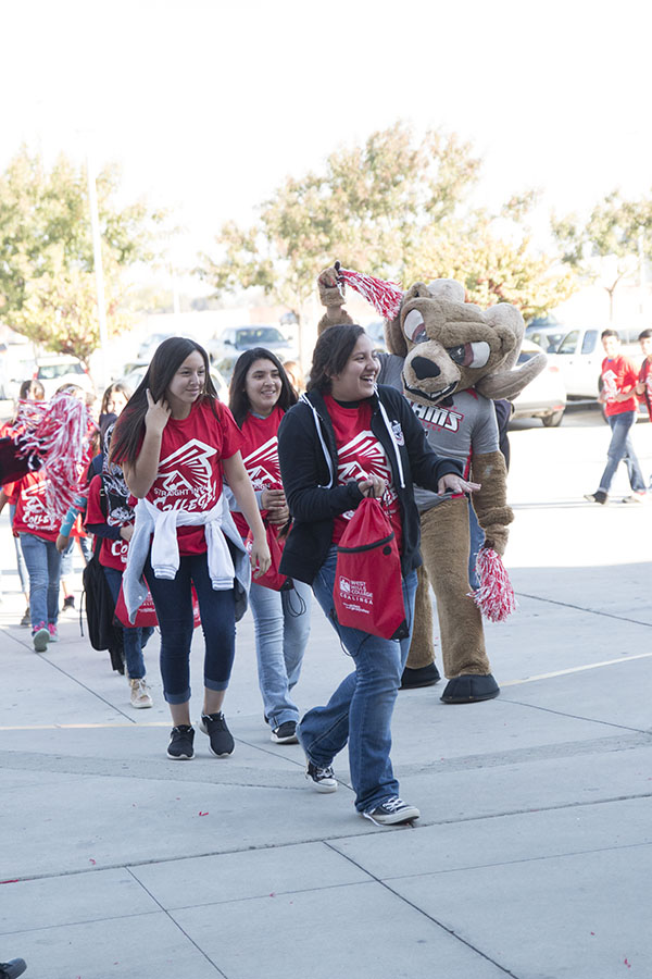 High school students from Fresno County arrive at the Save Mart Center on Nov. 2 for rally where the State Center Community College District unveiled the Central Valley Promise, designed to give students one semester of college free.