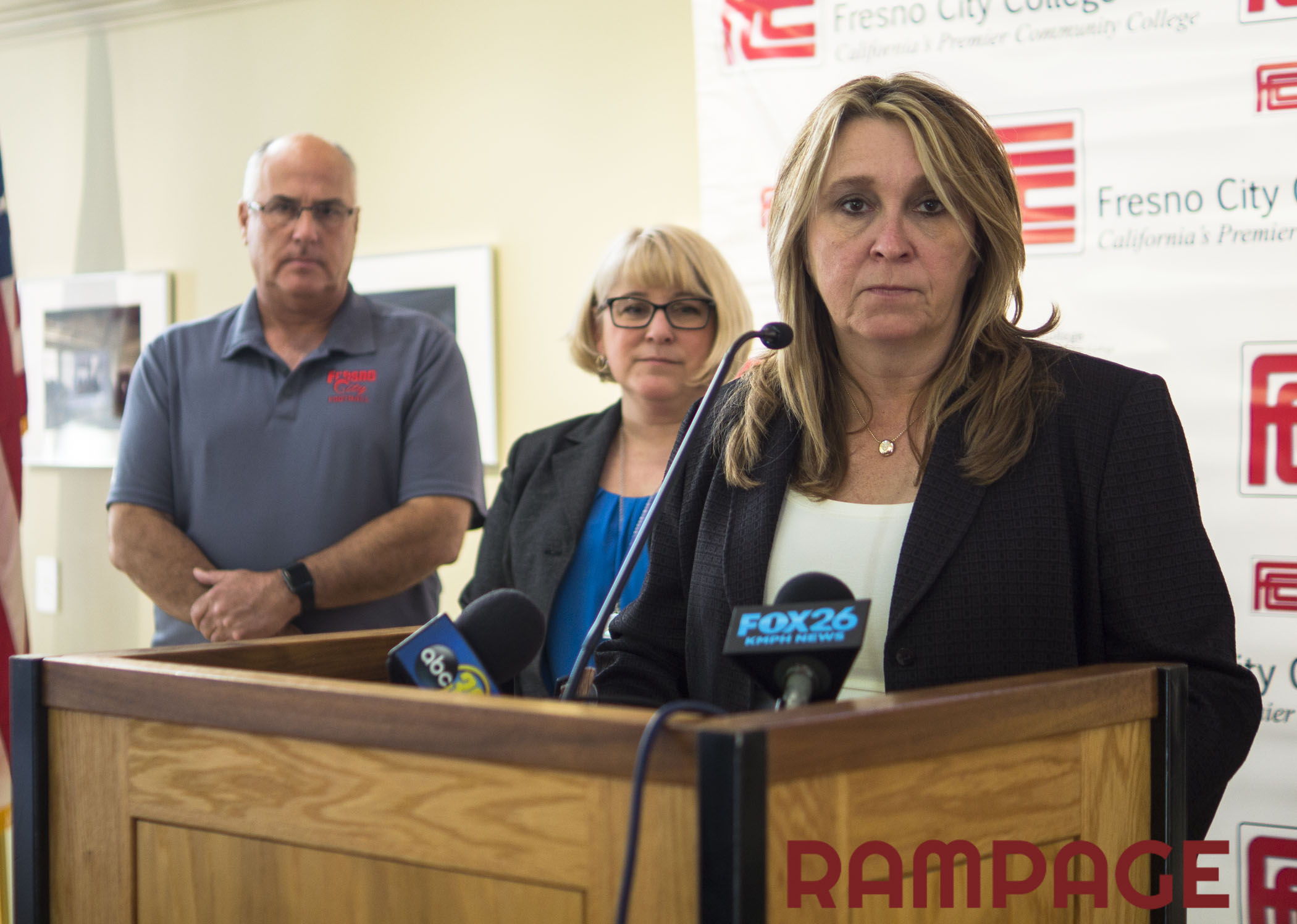 Fresno City College Rams HeadCoach Tony Caviglia, VP of administriative services Cheryl Sullivan and FCC President Carole Goldsmith listens to a question about further punishments for the FCC football team during the press conference on Monday, Nov. 14, 2016.