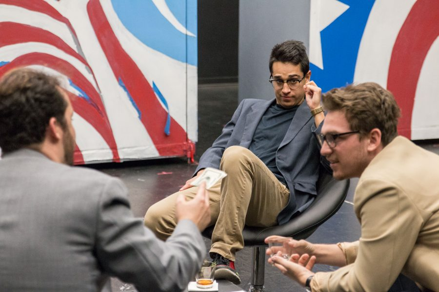 Fresno City College actors James Schott, Aaron Schoonover and Dylan Hardcastle rehearse for the upcoming production of Farragut North on Friday, November 4, 2016.