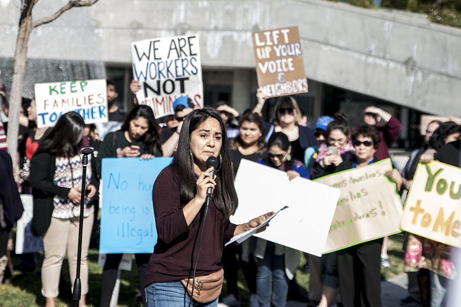 ​Arianna Martinez Lott delivers a heartfelt speech to protesters in front of Fresno City Hall on Jan. 27, 2017, after Mayor Lee Brand refused to label Fresno a sanctuary city. Photo/ Larry Valenzuela