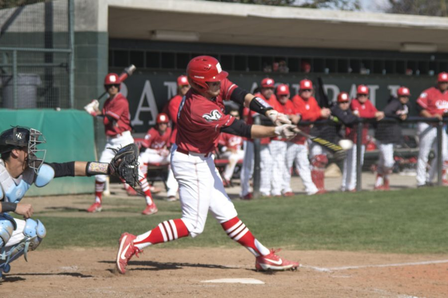 RJ Hartmann hits the ball against Cabrillo College during their game on Saturday, Feb. 25, 2017. The Rams won 2-0. Photo/Ram Reyes