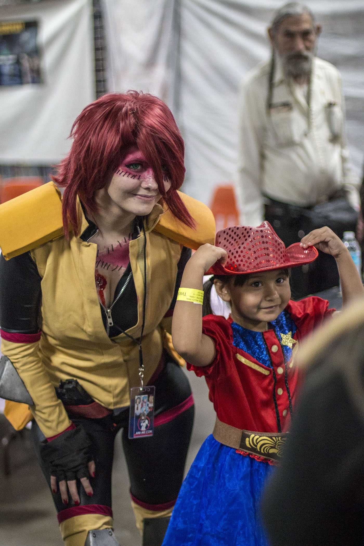 Wynsom Rose, dressed up as Zombina from the anime Monster Musume, poses for a photo with fan Khloe McBride at Ani-Me Con at the Fresno Fairgrounds on March 18, 2017. Photo/ Larry Valenzuela