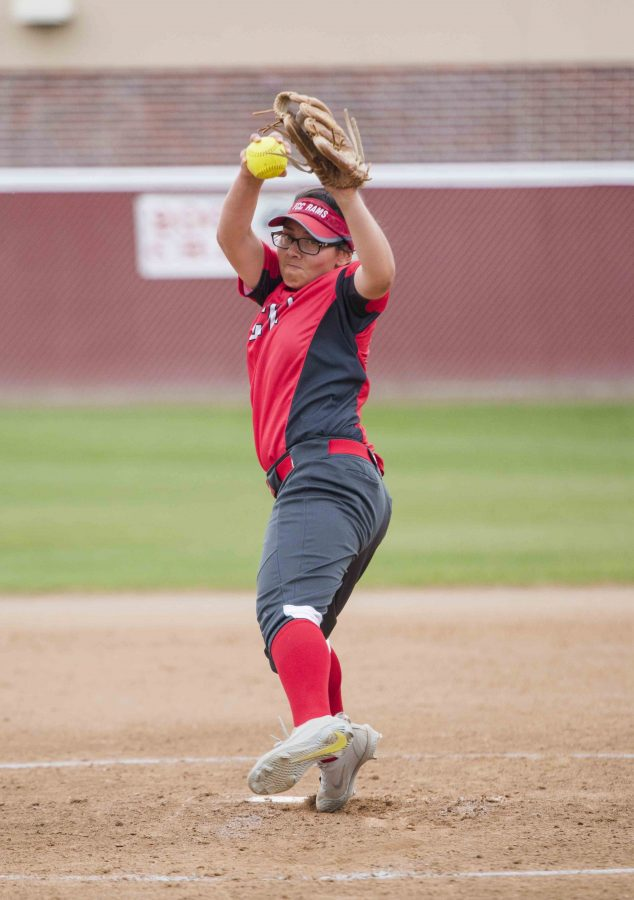 Mayra Mendez winds up for a pitch against Reedley College on Tuesday, March 21,2017 Photo/Cheyenne Tax