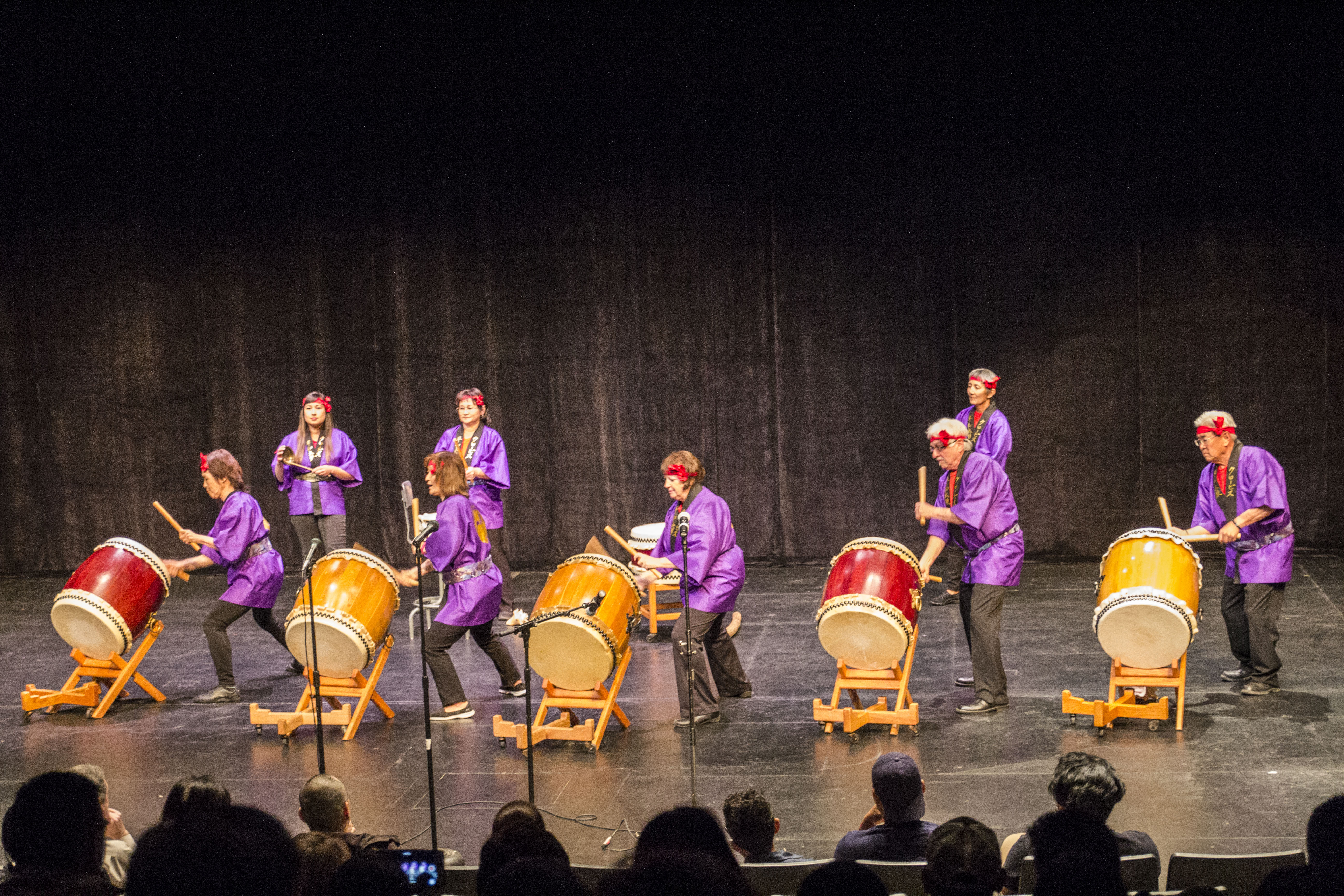 Clovis Heiwa Taiko performs at the Asian Celebration Show in FCC Theater on Friday, March 31, 2017