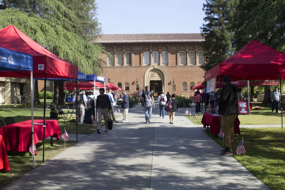 A veterans resource fair was held on Wednesday, April 5, 2017 in front of the Old Administration Building at Fresno City College.