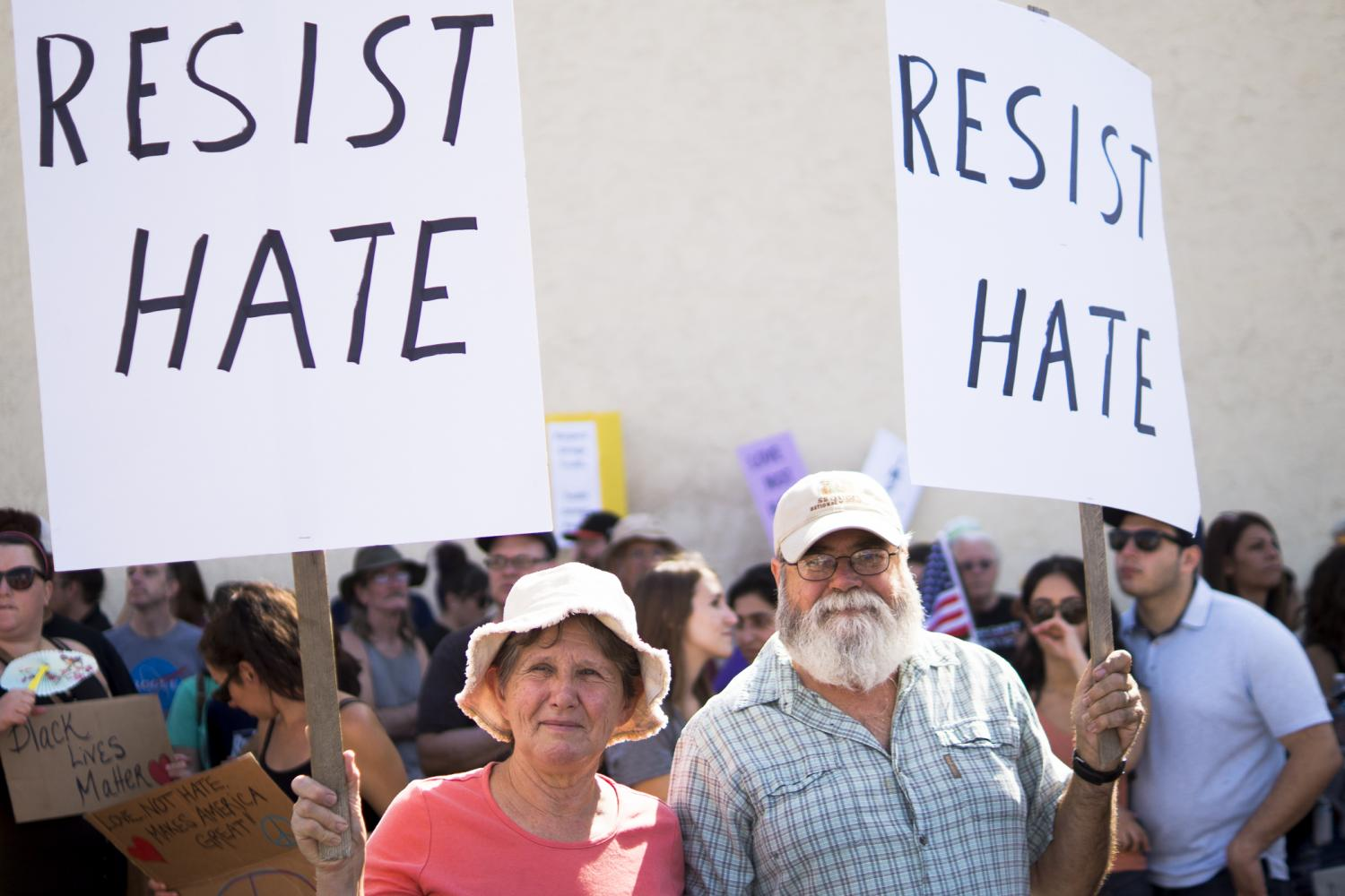 Eve and Ken Hudson show their support against hate during the Counter Rally Against Hate in Fresnos Tower District on Saturday, Aug. 26, 2017.