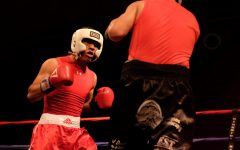 From left Thorn Castellon getting ready to strike Jorge Ramos in an amateur match held at the Paul Paul theater on Saturday, Oct. 7, 2017.