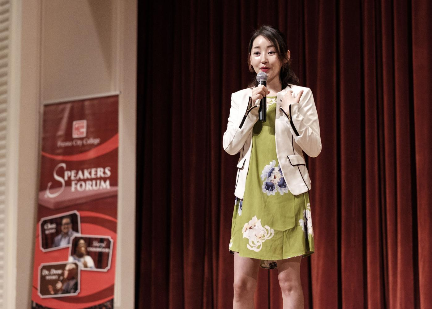 Yeonmi Park details her experience growing up as a child in North Korea during her talk for Fresno City College's Speakers Forum series in the OAB auditorium on Thursday, Oct. 19, 2017.